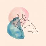 Zeichnung einer Hand auf pastellfarbenen Watercolor Hintergrund